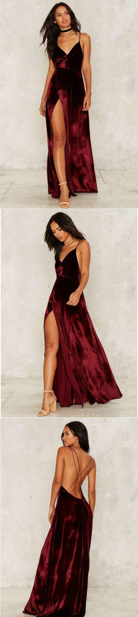 Modest Prom Dress,2017 New Prom Dress,Long Prom Dresses,Burgundy Evening Dress,Sexy Spaghetti Straps Slit Evening Dress by DestinyDress, $177.39 USD