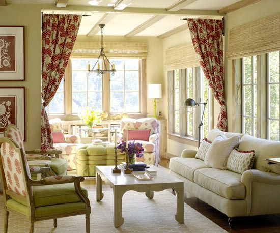 love the idea of separating a small space with some curtainsColors Combos, Dining Room, Living Rooms, Livingroom, Room Decor Ideas, Colors Schemes, Windows Blinds, Room Dividers, Cottages Living Room