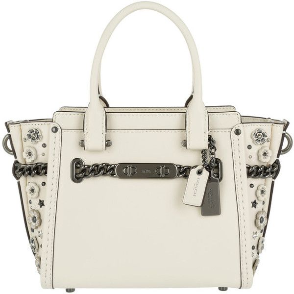 Coach Shoulder Bag - Willow Floral Swagga 21 Crossbody Leather Dark... (2.390 BRL) ❤ liked on Polyvore featuring bags, handbags, shoulder bags, white, crossbody shoulder bag, white crossbody, cross-body handbag, white leather purse and leather handbags