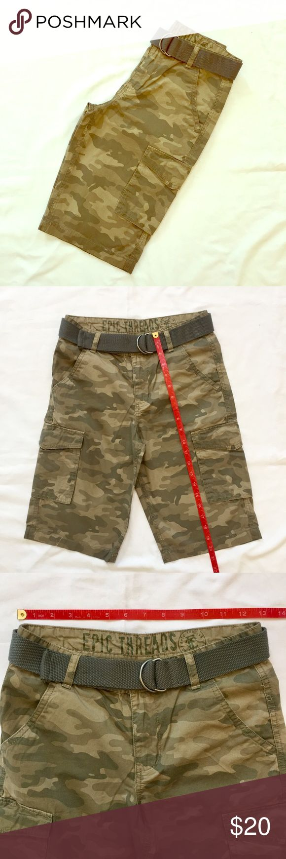 """👦NWOT BOYS CAMO CARGO SHORTS BELT POCKETS KIDS👦 NEW WITHOUT TAGS.  Boys camouflage """"camo"""" shorts with belt.  Size 10, see pictures for measurements.  Khaki, beige, army green.  No material tag.  Free of smoke and pets.  NCMCOLLECTIONS Epic Threads Bottoms Shorts"""