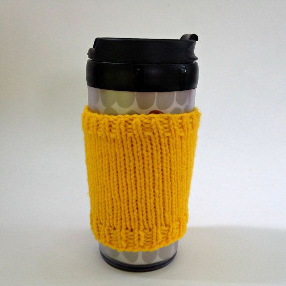 Coffee cozies, coffee cup sleeve, knit coffee cozy, knitted coffee cozy, coffee accessories, yellow coffee cup, coffee sleeve, coffee cozy on Etsy, $15.00 CAD