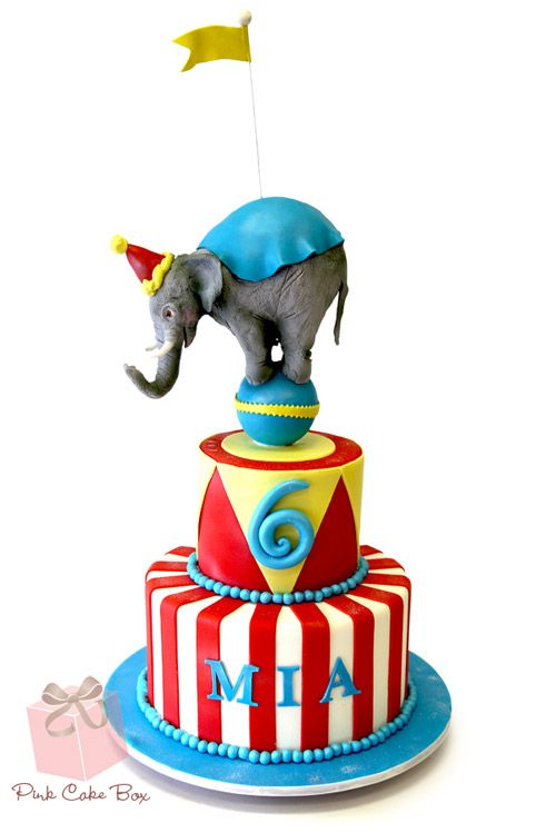 Mia's 6th Birthday Circus Elephant Cake by Pink Cake Box in Denville, NJ.  More photos at http://blog.pinkcakebox.com/mias-6th-birthday-elephant-cake-2013-03-12.htm  #cakes