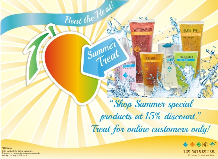 Good News Online shoppers....Shop from our range of summer treats and get 15% discount on your purchases. Offer for limited period only.