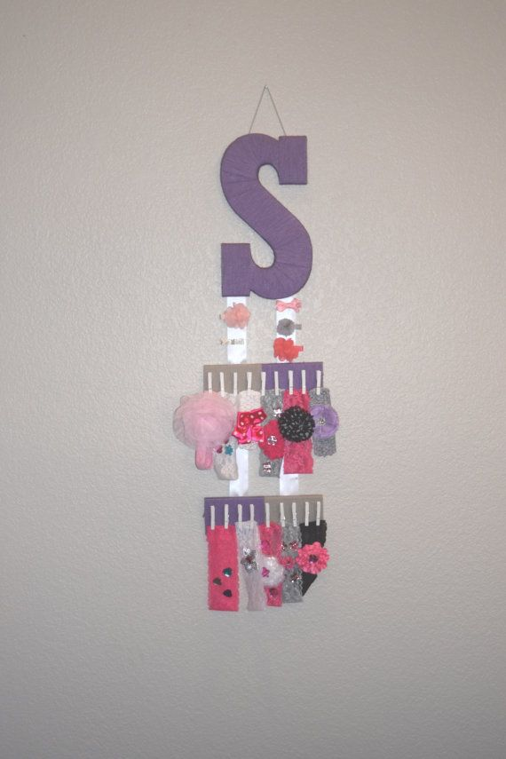 Headband Holder, Bow Organizer with custom yarn letter! FREE SHIPPING! Www.AaliyahsLetters.com  https://www.etsy.com/listing/463288753/headband-holder-purple-yarn-letter-s