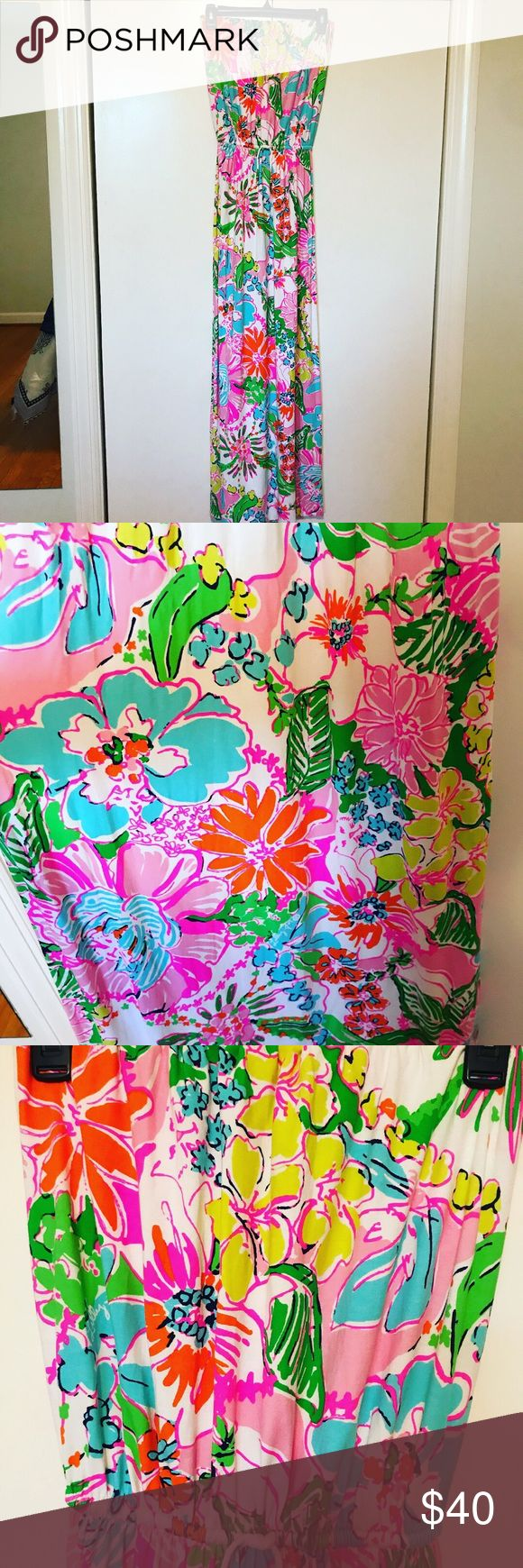 Lilly Pulitzer by target maxi dress Lily Pulitzer by target, cotton strapless maxi dress, multi color flowers Lilly Pulitzer for Target Dresses Maxi