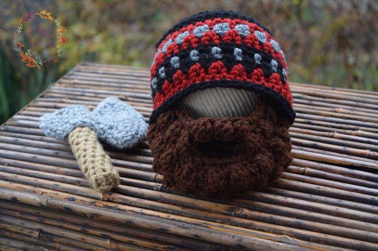lumberjack hat, beard beanie, beard hat, crochet beard, lumberjack outfit, thingy thingz, newborn outfit, photo prop, newborn beard, axe by ThingyThingz on Etsy https://www.etsy.com/listing/259079205/lumberjack-hat-beard-beanie-beard-hat