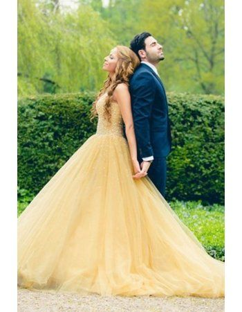 Strapless Sparkly Beading A Line Daffofil Yellow Tulle Long Prom Dress