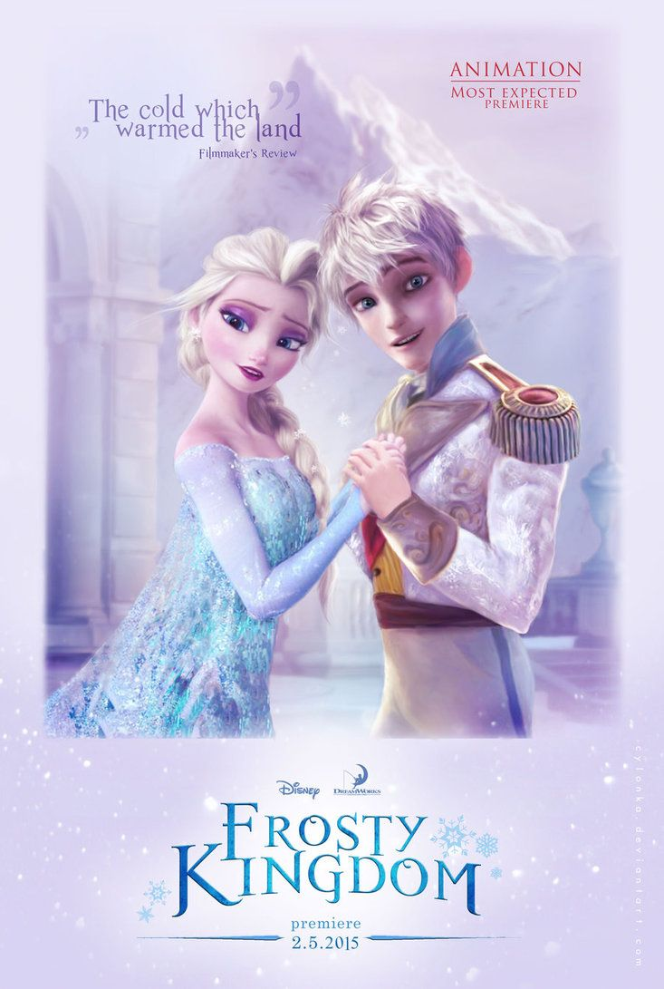 Elsa and Jack Frost in Frosty Kingdom by cylonka. I would love if Dreamworks and Disney got together to do something like this.