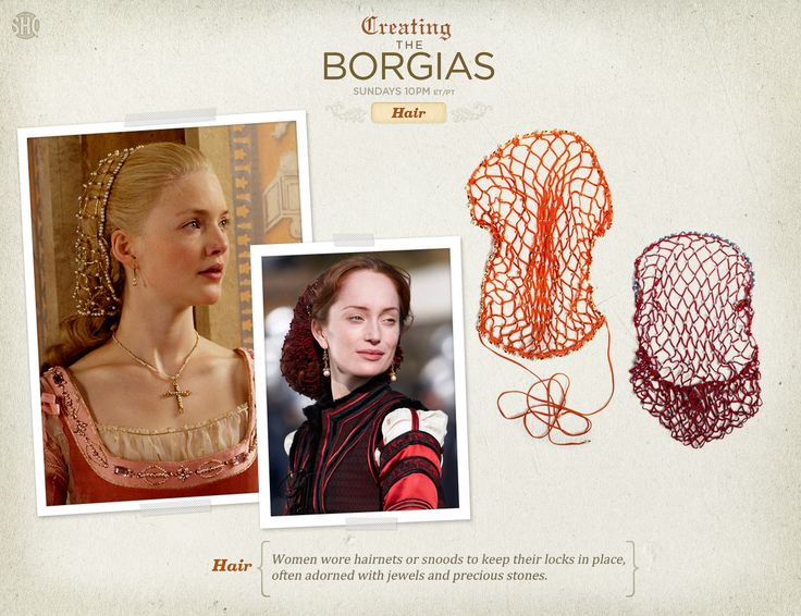 Women wore hairnets or snoods to keep their locks in place, often adorned with jewels and precious stones.