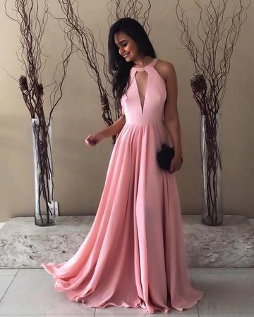Pretty Pink Halter Chiffon Prom Dresses 4f58e4b8a94a