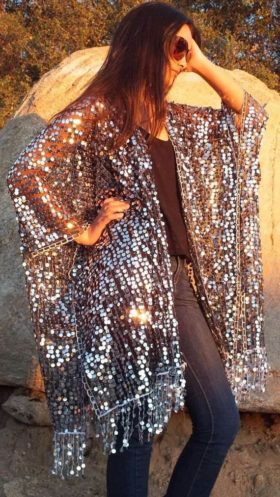 ccf9de130 Festival Black Silver Metallic Sequin Boho Sheer Caftan with Fringe Kimono  Top Cardigan Duster Disco One size Fit SML Plus Size(moddyvintage)