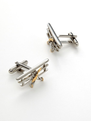 Biplane Cufflinks by Link Up : Gold plated. On sale $48.