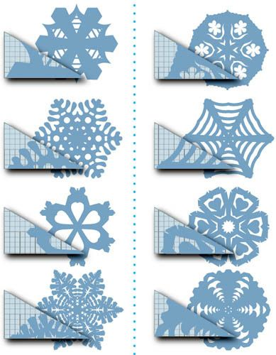 Snowflakes. Site isn't in English, but you can still see what cuts will make the final snowflake look like. pretty neat.