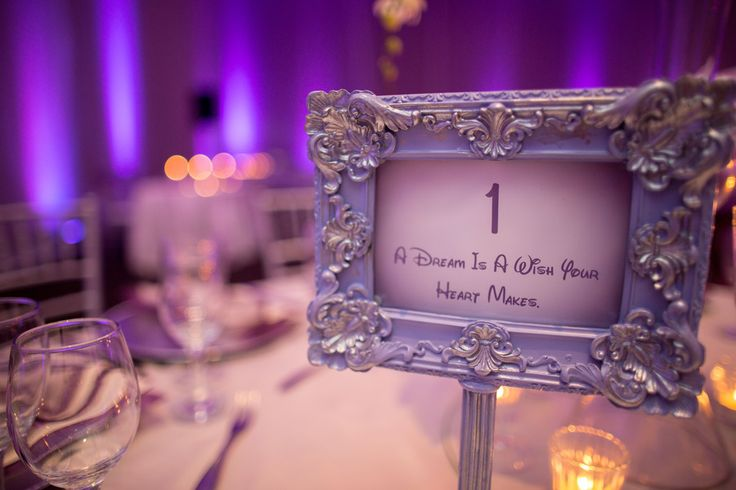 """A dream is a wish your <3 makes"" (Framed table number with a DISNEY´s CINDERELLA quote) - Punta Cana Wedding from Weddings Romantique + Joseph Lin Photography (Cinderella (1950) #waltdisney #cinderella"