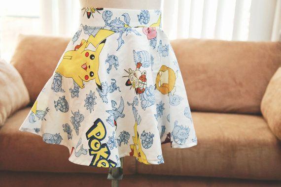 Upcycled Pokemon Cotton Bedsheet Skater Mini Skirt // Nintendo Pokemon Pikachu Skater Skirt // Women's Custom Pokemon Skater Skirts