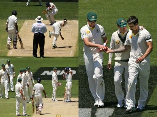Australian cricketers react after Virat Kohli was hit by a bouncer from Mitchell Johnson © Getty