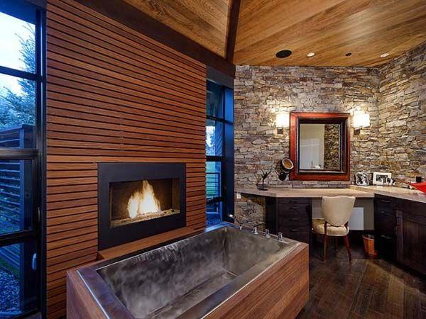 43 best Bathroom Fireplaces images on Pinterest Room Beautiful