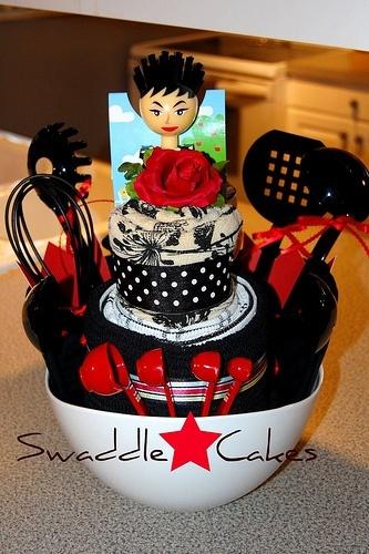 Bridal Shower Towel Cake | brushing bride kitchen towel cake brushing bride kitchen towel cake by ...