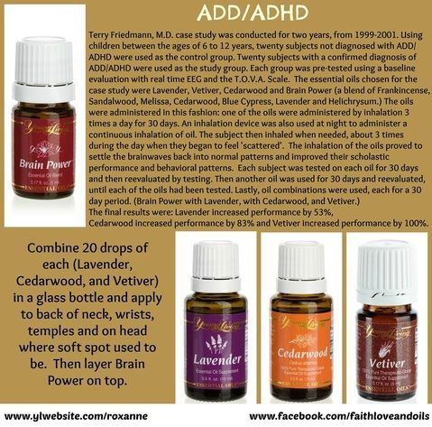 Young Living Oils for ADHD/ADD - Brain Power, Lavender, Cedarwood and Vetiver