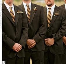 Brown Suits and Vest for all guys. Mike's tie matches material to my dress and groomsmen match bridesmaid dress