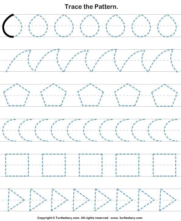 Trace The Pattern 3 Worksheet - TurtleDiary.com