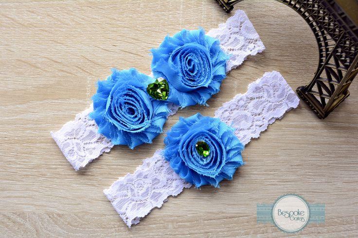 Blue Flower Garter, Wedding, Crystal Garter, Wedding Accessories, Bridal Garter Belt, Wedding Gift, Vintage Wedding, Wedding Garter Sets by BespokeGarters on Etsy