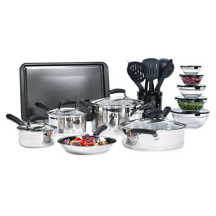 25-Piece Stainless Steel Mega Cookware Set Pan Skillet frying Pan Kitchen  #cooking
