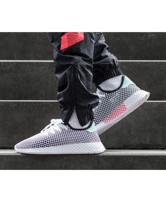 pretty nice 0a0d9 bfea6 Adidas Deerupt Runner Black Easy Green White Shoes