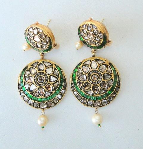 Vintage antique 20 carat Gold Diamond polki earring pair Rajasthan India