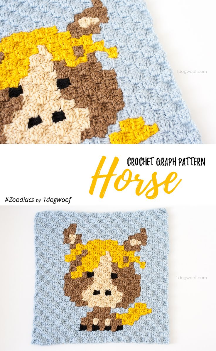 "Make this cute horsey square with Lion Brand Vanna's Choice! Free C2C crochet pattern by One Dog Woof - find even more animals in her ""Zoodiacs"" series!"
