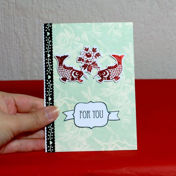 For You Red Koi Day Card by HoneysDead on Etsy