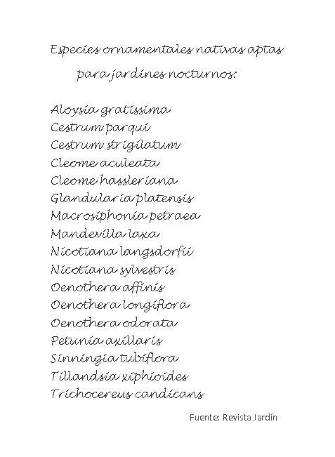Especies ornamentales nativas aptas para jardines nocturnos. Fuente revista Jardín (Argentina)