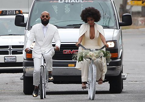 Solange and her fiance Alan Ferguson rode white bikes to their New Orleans wedding on Sunday, Nov. 16.