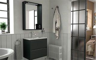 Muebles de baño con @diseño acabado en negro serie S40 de @Salgar