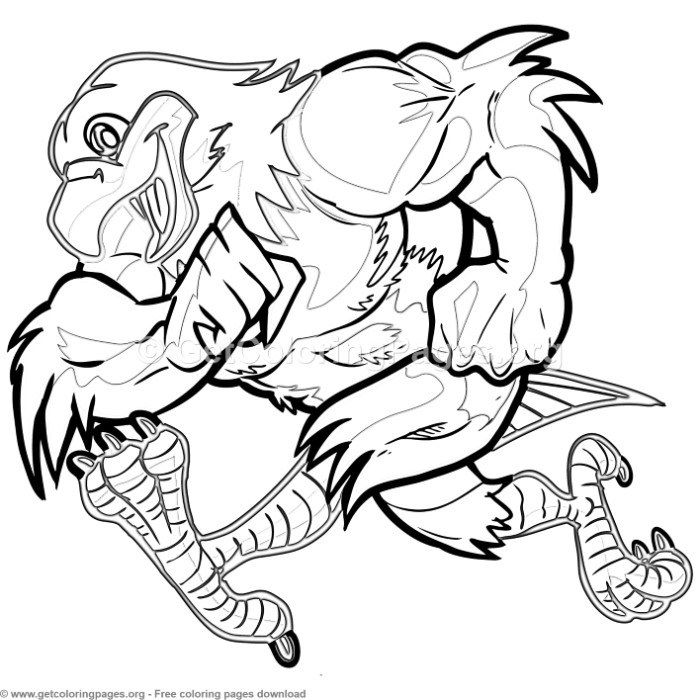 cartoon eagle mascot running coloring pages free download