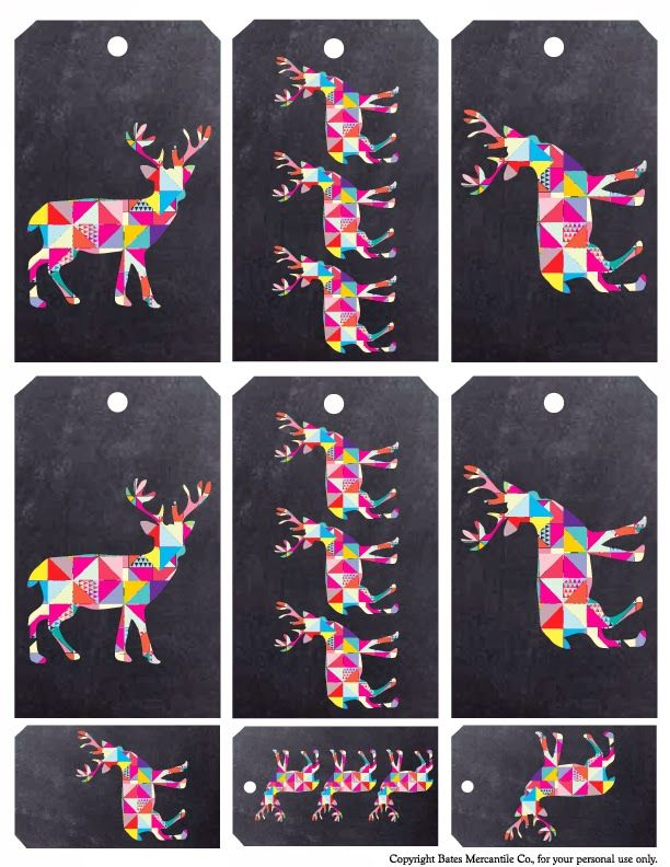 Bates Mercantile Co. Muse-Oh Deer Christmas gift tags