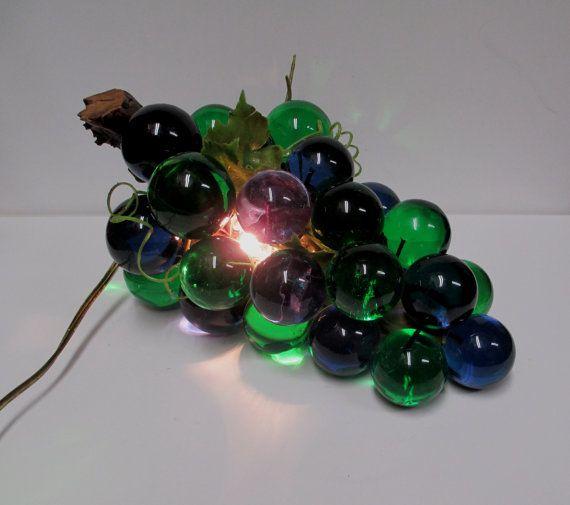 Vintage 60s Acrylic Grape Cluster Light Mid Century Lucite