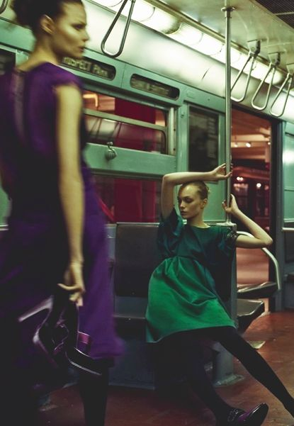 "My novel ""Subway Hitchhikers"" rolls through scenes like this. (Steven Meisel…"