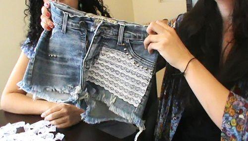 Customização de short jeans com renda