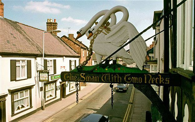 """The Swan With Two Necks, Newcastle. There are actually a handful of pubs in Britain with this name. The origin is slightly convoluted. Elizabeth I once gave some swans away, to some people who then marked the swans with two """"nicks"""". Somewhere along the way this got corrupted, and nicks became necks."""