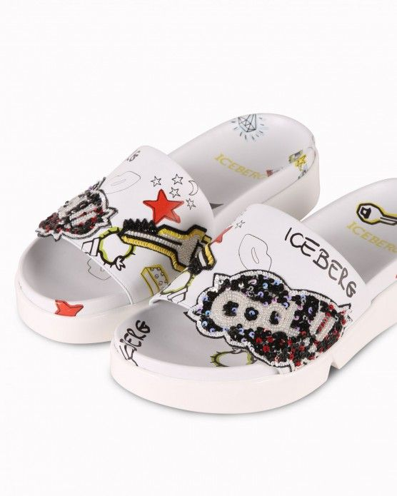 Sandals with illustrations and appliqué detail Iceberg #Iceberg #sandals #cartoon #comics #fashion #style #stylish #love #socialenvy #me #cute #photooftheday #beauty #beautiful #instagood #instafashion #pretty #girl