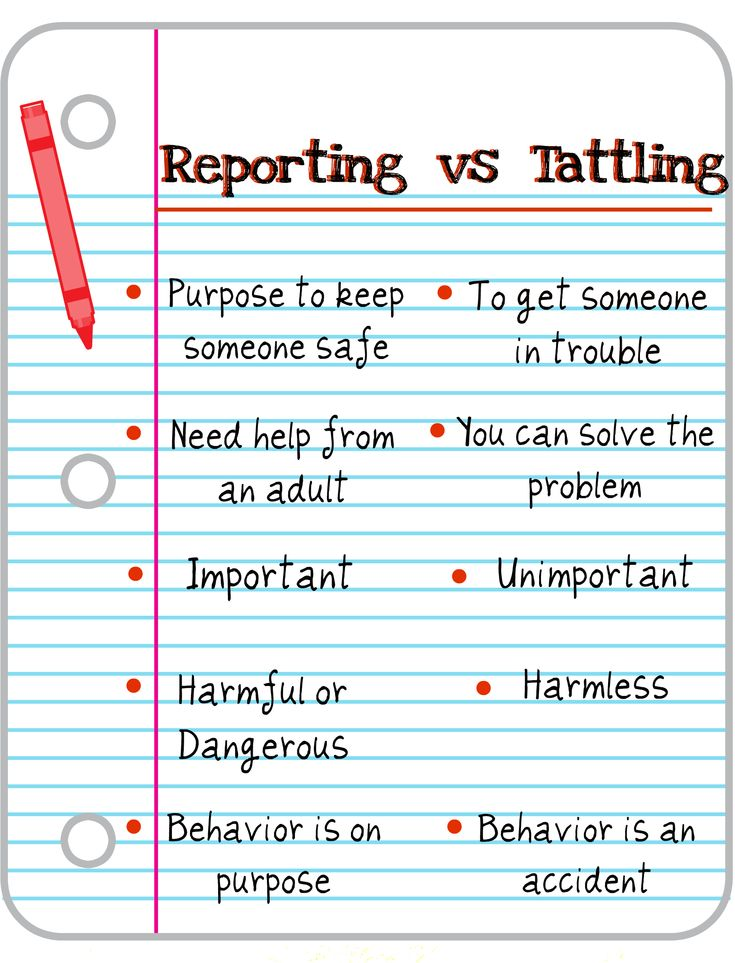 """reporting"" vs ""tattling"".....I need this!"