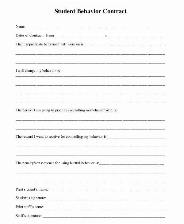 30 Behavior Contract Template For Adults In 2020 Contract