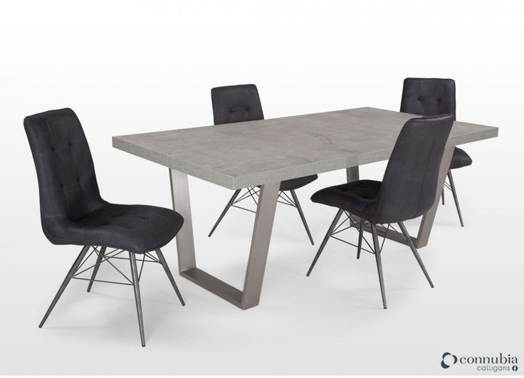 Contemporary Concretelook Dining Table & 4 Chairs  Odessa Simple Dining Room Furniture Ireland Decorating Inspiration