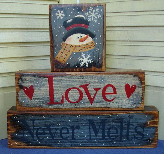 Love Never Melts Shelf Sitter Block Wood PAFAWW