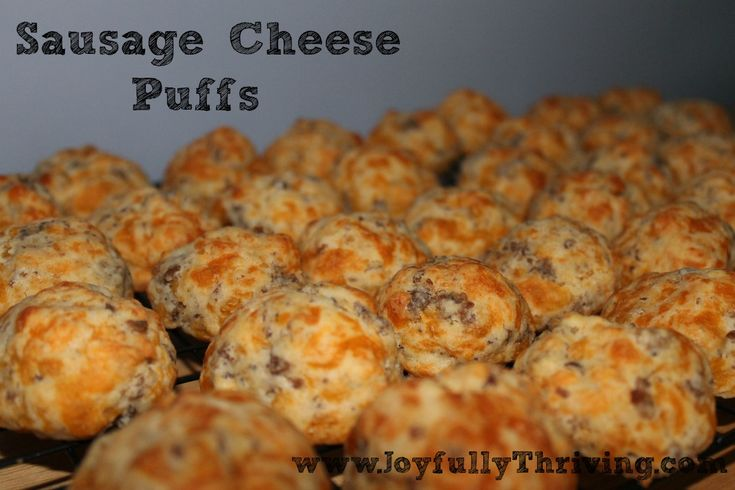 Sausage Cheese Puffs - No Mix Required! - A great breakfast or appetizer, plus it freezes great. Pinned 1.5k times and counting.