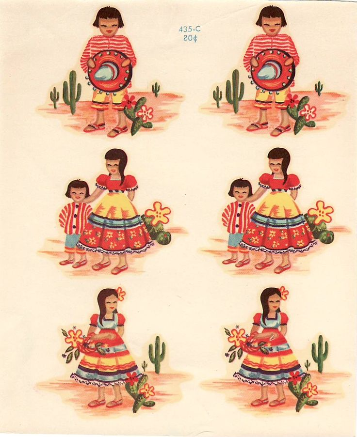 Vintage Meyercord Decal Mexican Children,catus (Image1)
