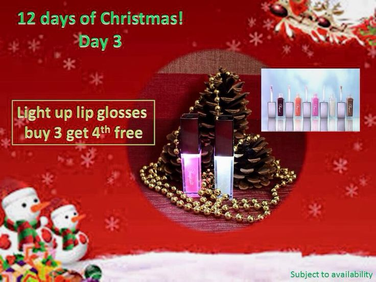 Day 3: Buy 3 Luscious Lips - get 4th one free: The wand lights up for perfect coverage in any light. Perfect your lips using the built-in mirror for flawless application. This shimmering gloss is great for attracting light and creating a sensational smile.