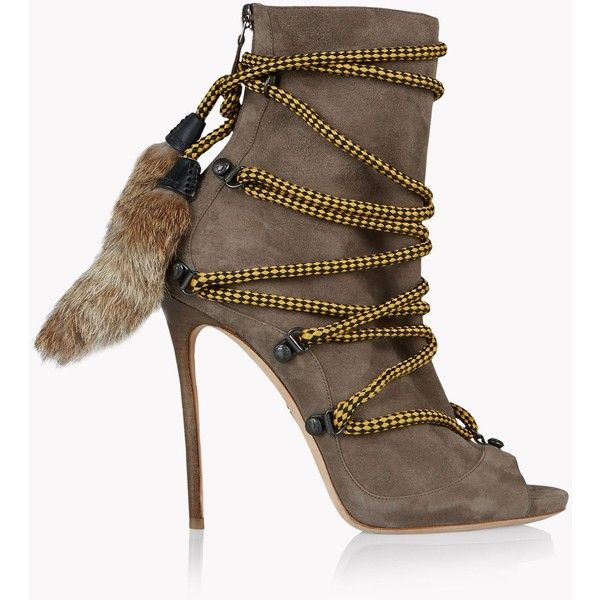 Dsquared2 Ankle Boot ($1,410) ❤ liked on Polyvore featuring shoes, boots, ankle booties, fur ankle boots, lace-up bootie, open toe bootie, open toe lace up bootie and ankle boots