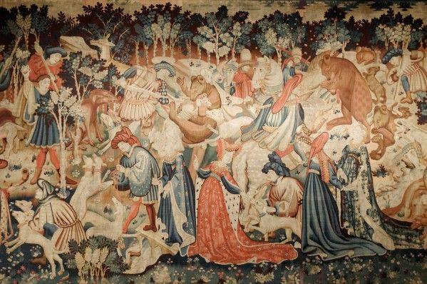 Tapisserie Gothique • Tapisserie du Duc de Devonshire, la chasse au verrat et à l'ours, Victoria and Albert Museum, London, entre 1430-1450